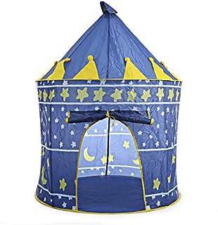 خيمة لعب قابلة للطي والحمل بتصميم قلعة للأمراء الصبيان تستخدم كمنزل ونادي للعب في الخارج ويمكن تقديمها كهدية - ازرق