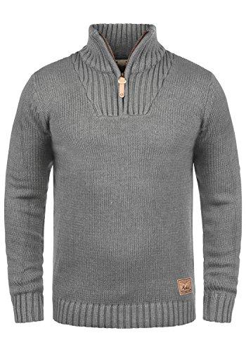 !Solid Petro Herren Winter Pullover Strickpullover Troyer Grobstrick mit Stehkragen und Reißverschluss, Größe:M, Farbe:Grey Melange (8236)