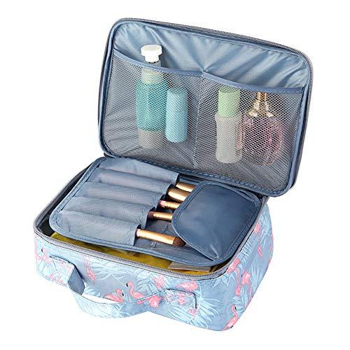 Decdeal Flamingo estojo de cosméticos feminino à prova d'água com zíper duplo e kit de organizador de viagem