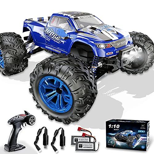 1:10 Ferngesteuertes Auto, 4WD 48 km/h RC Auto Offroad mit 2* 1600mAh Batterien IPX6 Wasserdicht, All-Terrain Monstertruck Buggy für Kinder und Erwachsene Hobbist Grade,Blau