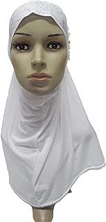 Muslim Women Beads Hijab Prayer Hat Scarf Amira One Piece Headscarf Cover Shawl Wrap Flower Head Wrap Full Cover Hijabs Turban White