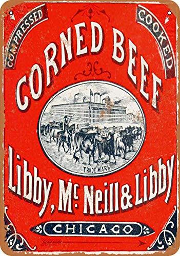 Letrero de metal de 20 x 30 cm 1898 Libby Corned Beef con aspecto vintage