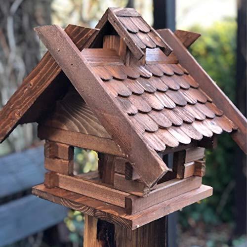 Darlux Vogelhaus Vogel Futter Haus aus Holz Futterstelle Dunkelbraun (Größe M - ohne Ständer, Rechteckig)