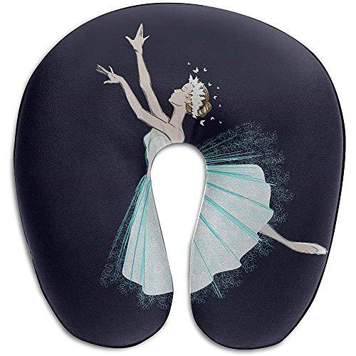 Warm-Breeze Almohada de Viaje Grande Bailarinas de Baile Elegantes para niñas Almohada de Cuello de Espuma de Memoria en Forma de U Almohada de Viaje
