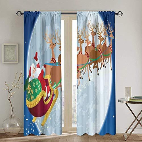 Codruy Vorhang Blickdicht,Weihnachtsnacht Landschaft mit dem Weihnachtsmann auf seinem Schlitten,der zum Mond fliegt,Wärmeisolierend Gardine 2er Set130cmX210cm
