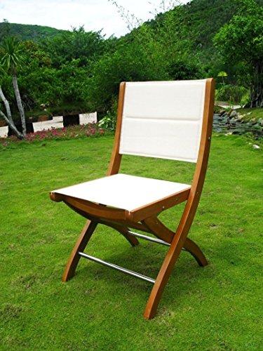 Chaise de jardin sans accoudoirs en bois d'acacia massif