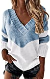 Aasinljy Suéter flojo perezoso de cuello alto de manga completa holgado de gran tamaño suéter de punto grueso Outwears, Azul (z03-blue), Small