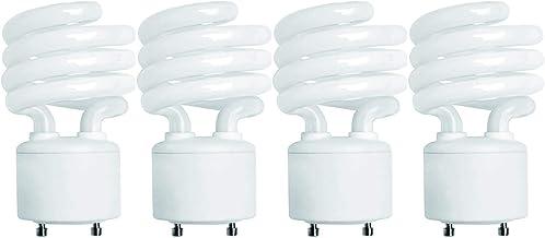 (4 Pack) 13 Watt Mini Spiral - GU24 Base - (60W Equivalent) - T2 Mini-Twist - CFL Light Bulb (Cool White (4100K), CFL)