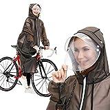 レインコート レディース 自転車 バイク 2020進化版Flagicon 魔法レインコート レインウェア ロングレインポンチョ おしゃれ 雨具 厚手 軽量 通勤 通学 男女兼用 (グレー, L)