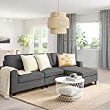 Pukami Convertible Sectional Tiny Sofa Couch for Living Room, Reversible Chaise with Modern Linen Fabric, L-Shaped 3-seat Sofa Couch with Ottoman for Small Space, Apartment,Dorm,Juvenile