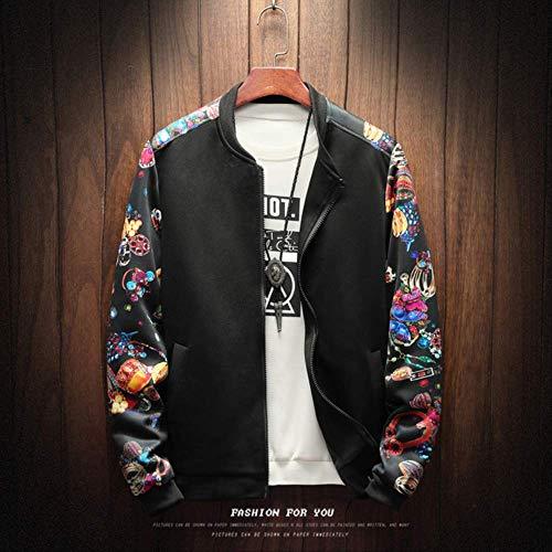 FGHSD Bomberjack voor heren, bloemenjack met ritssluiting, patchwork, bloem, lange mouwen, jack voor heren, plus-size streetwear