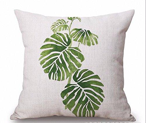 aohang tropischen Pflanzen Blätter bedruckt Baumwolle Leinen 45,7x 45,7cm dekorativer Überwurf-Kissenbezug Sofa Home Decor Kissen Bezüge #3