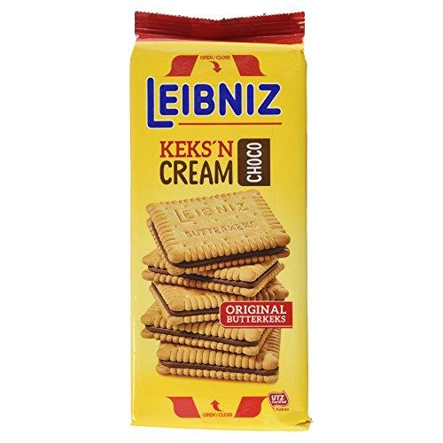 Leibniz Keks'n Cream 228g — zwei leckere Butterkekse mit Schoko-Creme Füllung - wiederverschließbarer Snack für zwischendurch - Doppel-Schokoladenkekse für unterwegs