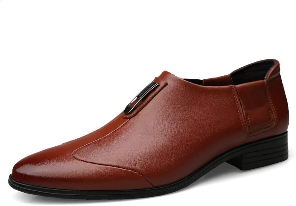HUN Men's Business Oxford Casual Simple Classic Tip Toe Tie Formal Shoes (Color : Brown, Size : 37 EU)