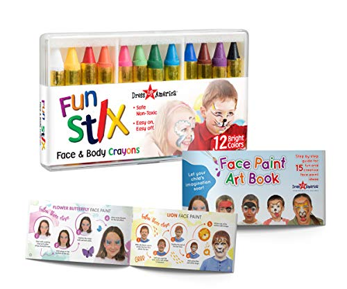 Dress-Up-America Face Paint Crayons - With Artbook & Easy To Follow Facepainting Designs -Safe Non-Toxic Face And Body Paint Made in Taiwan - Halloween Makeup Face Painting Kit for Kids & Adults