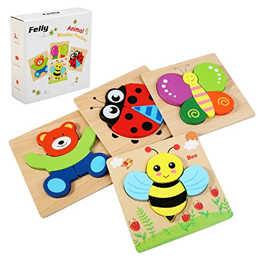 Felly houten puzzel baby, houten speelgoed van 1 2 3 jaar, 4 stukjes puzzels houten speelgoed voor jongens meisjes, dier educatief speelgoed puzzel peuter verjaardag kerstcadeau voor kinderen
