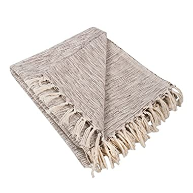 DII Rustic Farmhouse Cotton Variegated Blanket Throw For Chair, Couch, Picnic, Camping, Beach, & Everyday Use , 50 x 60  - Variegated Brown