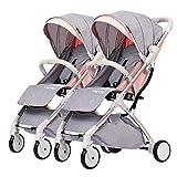 WRJY Cochecito de bebé Gemelo, Carrito de niño Desmontable, Marco de Carro Plateado de aleación de Aluminio portátil de Doble Carro Ligero y Plegable (Color: Rosa Loto)