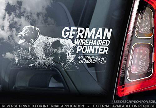 Sticker International Deutsche Drahthaar - Autoaufkleber - Hund Schild Fenster, Stoßstange Aufkleber Geschenk - V001 - Weiß/Klar - Externe Außen Aufdruck, 220x100mm
