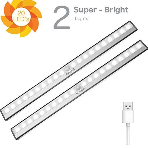 RuneSol® Luce LED notturna wireless a lampada ricaricabile usb/ 2 x 20 LED strisce di luce notturna/Sensore di luce per auto super brillante/Luce a lampada senza fili a strisce