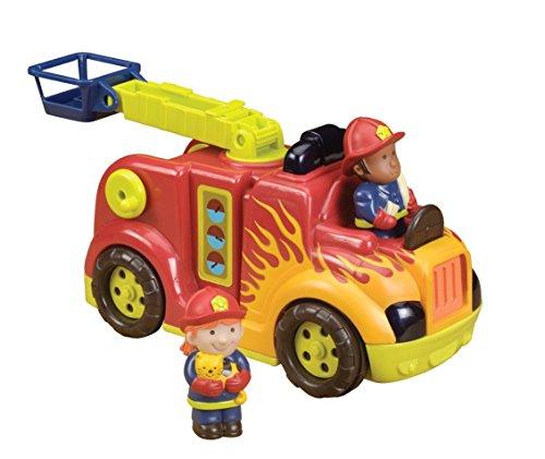 B. toys by Battat Feuerwehrauto mit 2 Figuren – Interaktives Spielzeug mit Lichtern, Tönen, ausfahrbare Leiter und Schlauch für Kinder und Babys ab 18 Monaten Feuerwehr Spielzeug