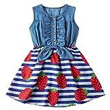 Cutemile Little Girls Strawberry Denim Dresses Sleeveless Dress 3D Print Casual Summer Sundress Princess Skirt 7-8 Years