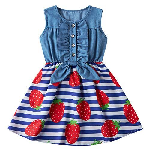 AIDEAONE Kleine Mädchen Kleid Denim Bogenknoten Rock Ärmellos Sommer Erdbeere Kleid Kleidung 2-3 Jahre