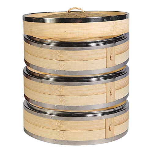 Hcooker 3 Capas Vaporizador de Bambú para Cocina con Doble Bandas de Acero Inoxidable para Cocina Asiática Bollos Empanadillas Verduras Pescado Arroz