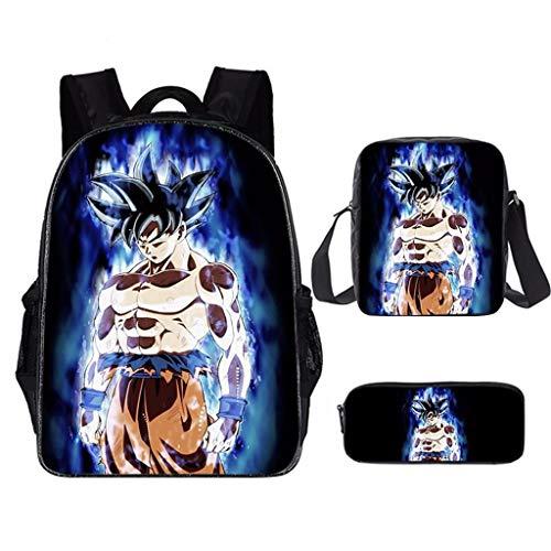 Mochila Dragon Ball, 3D Goku Anime Cosplay Mochila Infantiles+Bolsa Almuerzo+ Estuche Mochila Dragon Ball Escolar para Niño y Niñas Estudiante Bolso de Escuela Laptop Backpack (10)