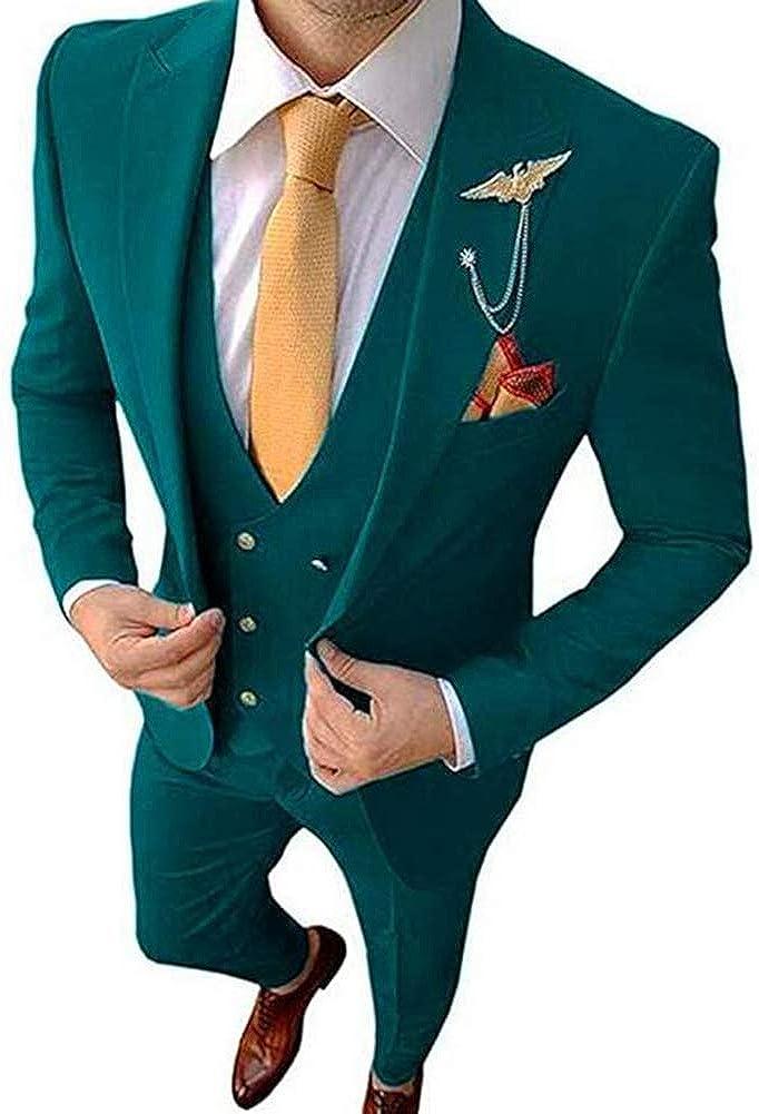 Men's One Button 3 Pieces Business Suit Slim Fit Groom Tuxedo Suit