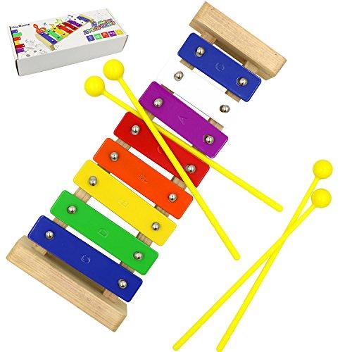 8 Notas Xilófono, DigHealth Xilofono para Niños, Xilófono Juguete de Madera de Instrumento Musical, Juguetes Musicales Regalo para Infantil, Incluye 4 Palillos