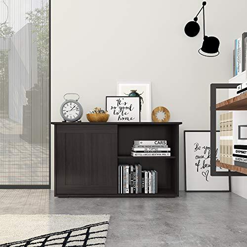 Homy Casa - Aparador de buffet con puertas correderas, estante ajustable, armario de cocina, aparador de buffet marrón Credenza