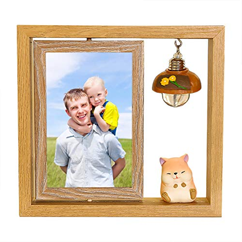 e'w'r'w'erwerwe Photo Frame Personalized Luminous Photo Frame Couple Photo Frame Rotating Photo Frame Wooden Ornaments with Piggy Dog Cat Bedroom Decoration Wedding Photo Frame Gift(Cat 20 * 22cm)