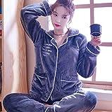 Pijamas Para Mujer,Invierno Mujeres Manga Larga Manga Longitud Carta Bordado Gris Suave Warm Fleece Lapel Pyjama Sets Thick Flannel Bonita Mujer Warm Sleepwear Pajama Set Manga Larga Pantalones Comp