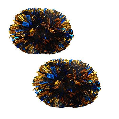 Blu + Oro Colorato Grande bastone in plastica manico Cheerleading Poms 120g (la coppia)