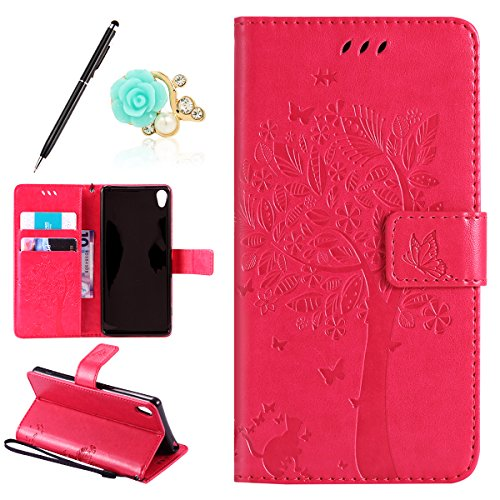 Uposao Kompatibel mit Sony Xperia XA Leder Tasche Schutzhülle Vintage Schmetterling Baum Katze Muster Brieftasche Handyhülle Ledertasche Lederhülle Bookstyle Handy Tasche,Hot Pink
