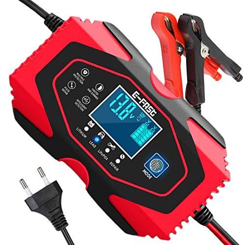 SENTUOSI Ladegerät Autobatterie 12V/24V Batterieladegerät Motorrad Vollautomatisches Intelligentes Erhaltungsladegerät mit LCD-Touchscreen für Lithium, Gel, LifePO4, AGM, Auto/Motorrad Batterie