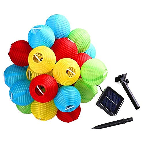 Solar Lantern String, Nylon Fabric, Outdoor Garden Global 5 Meters 20 Led, 8 Mode, Ip65 Waterproof, Outdoor String Lights, Voor Tuin, Patio's, Bomen Ideaal voor DIY