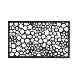 Relaxdays 10020195 Paillasson tapis de sol antidérapant en caoutchouc motifs fleurs résistant porte entrée garage couloir extérieur L x l 75 x 45 cm noir