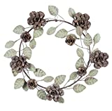 Cape Craftsmen Leaf and Flower Metal Wreath - 15 x 3 x 15 Inches