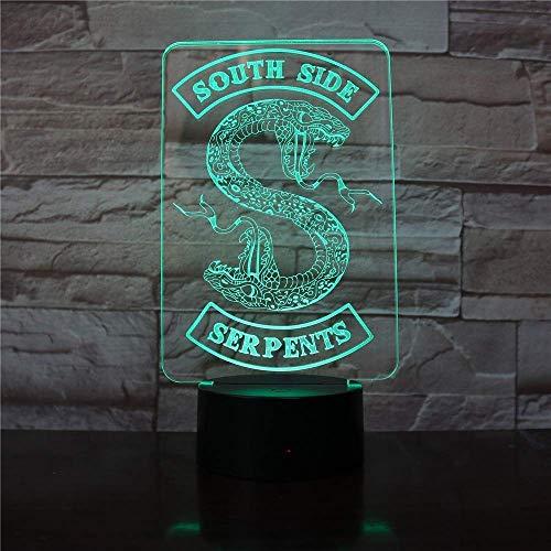 Led-nachtlampje 3D, badge Riverdale Snake Logo nachtlampje LED Southside slang decor teken dingen riverdale accessoires geschenk tafel slaapkamer lamp