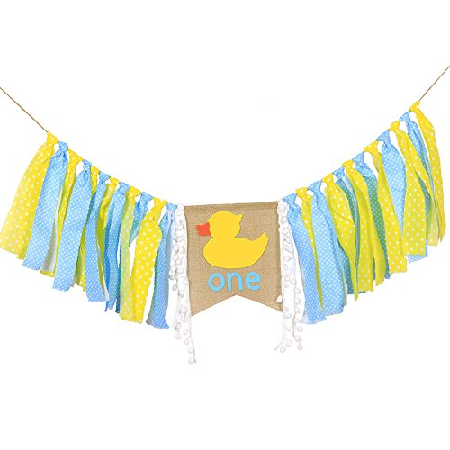 High Chair Banner For 1st Birthday - First Birthday Decorations For Photo Booth Props, Birthday Souvenir and Gifts For Kids, Best Party Supplies (DUCK)