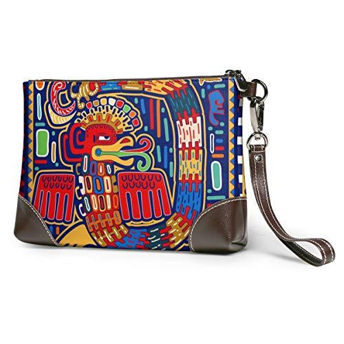 Portemonnaie für Damen, mit Blumenmuster, weiches Echtleder, klein, klassisch, groß Schwarz Abstrakte Schlange im Folk-Stil Einheitsgröße