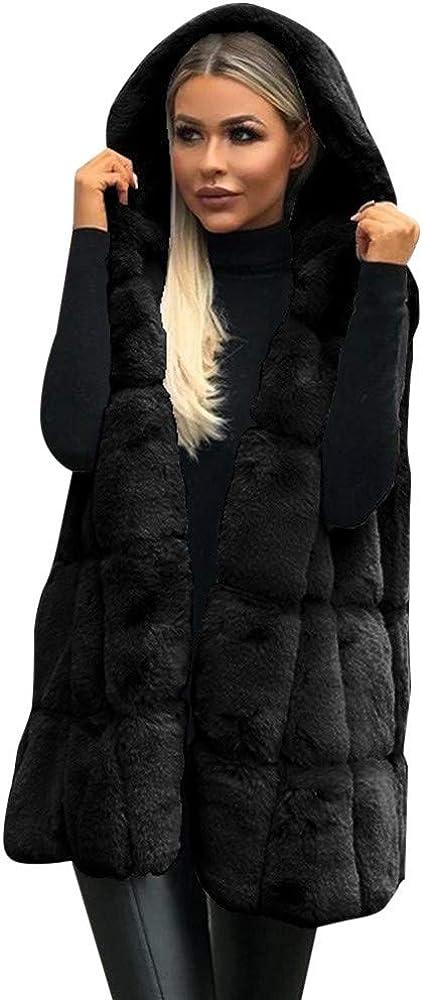 TRENDIANO Winter Hooded Vest for Women Soft Faux Fur Waistcoat Fashion Solid Fleece Sleeveless Jackets