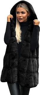 Capa sin Mangas con Capucha de Las Mujeres Color sólido Tamaño Grande Felpa Abrigo Largo de Lana Abrigo Casual Chaqueta de...