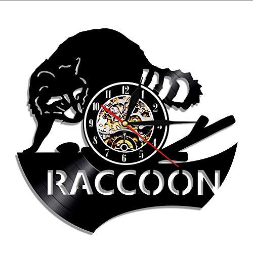 guyuell 1 Pièce Raccoon Fox Disque Vinyle Horloge Vintage À La Main Maison Fête d'anniversaire Mur Décor Art Pépinière Rétro Cadeau