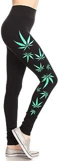 Yelete Leggings for Women Black Heavy for Winter ONE Size Green Leaves Design