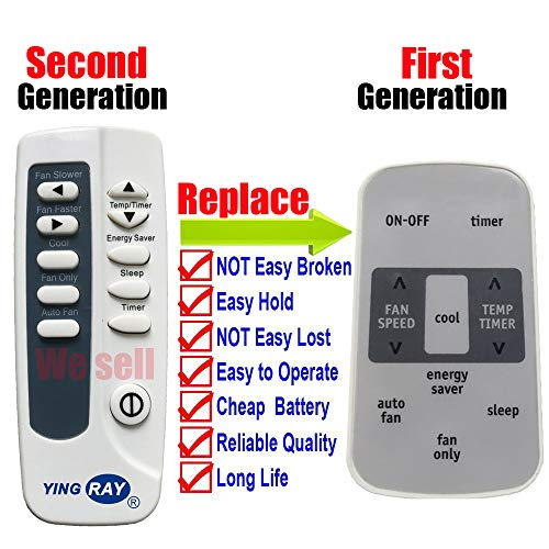YING RAY Replacement for Frigidaire Window Air Conditioner Remote Control Model FFRA06L2S1 FFRA06L2S10 FFRA06L2S11 FFRA08L2S1 FFRA08L2S10 FFRA08L2S11 FFRE05W3Q1 FFRE05W3Q10 FFRE05W3Q11