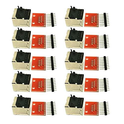 Almencla 10er Pack RJ45 8P8C Buchs Anschlüsse und RJ45-Steckverbinder Platte Stecker Breakout Board für Ethernet-Buchsen