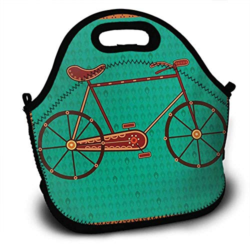 Bicycle, Picnic Bag, Sundries Bag, Shopping Bag, Lunch Bag, Pattern Printing, Design of a Bike in Ethnic Asian Desi Art Style Folkloric Framework, 5.5x11x11 inch, Sea Green Brown and Orange